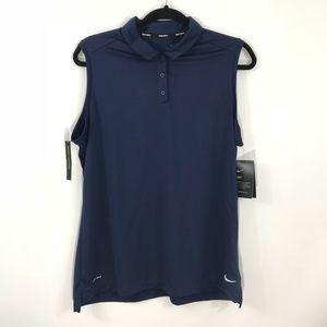 New Nike Golf Women's Dri-Fit Sleeveless Polo Top